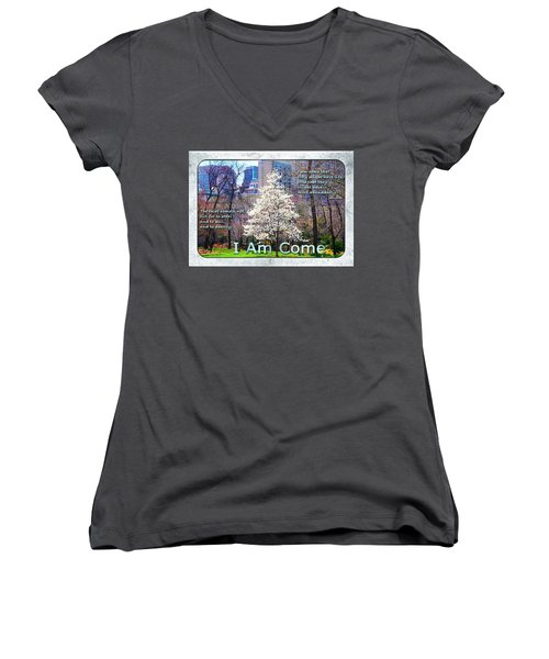 I Am Come Women's V-Neck T-Shirt (Junior Cut) by Terry Wallace