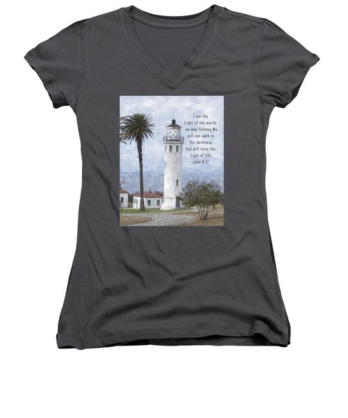 I Am The Light Of The World Women's V-Neck (Athletic Fit)