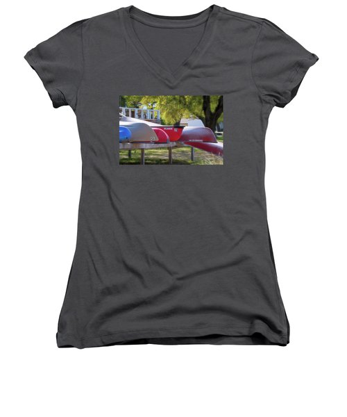 I Believe I'll Go Canoeing Women's V-Neck (Athletic Fit)