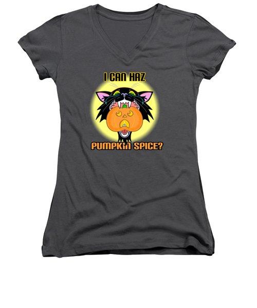 I Can Haz Pumpkin Spice? Women's V-Neck T-Shirt