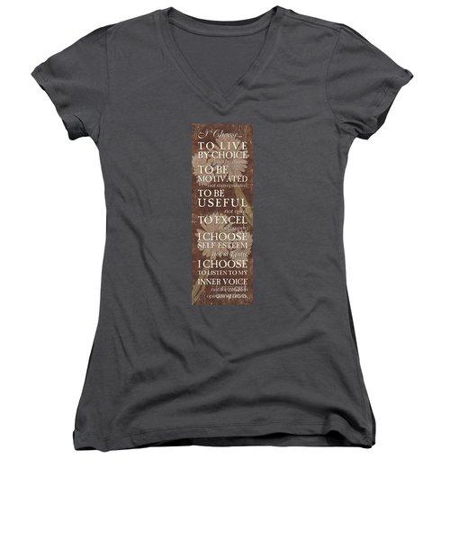 I Choose... Women's V-Neck T-Shirt (Junior Cut) by Debbie DeWitt