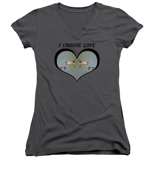 I Chose Love With A Spoonbill Duck And Geese On A Pond In A Heart Women's V-Neck T-Shirt (Junior Cut)