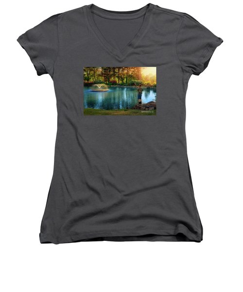 I Could Be Fishing Women's V-Neck (Athletic Fit)