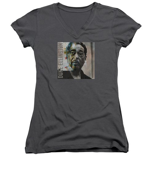 Women's V-Neck T-Shirt (Junior Cut) featuring the painting I Got It Bad And That Ain't Good by Paul Lovering