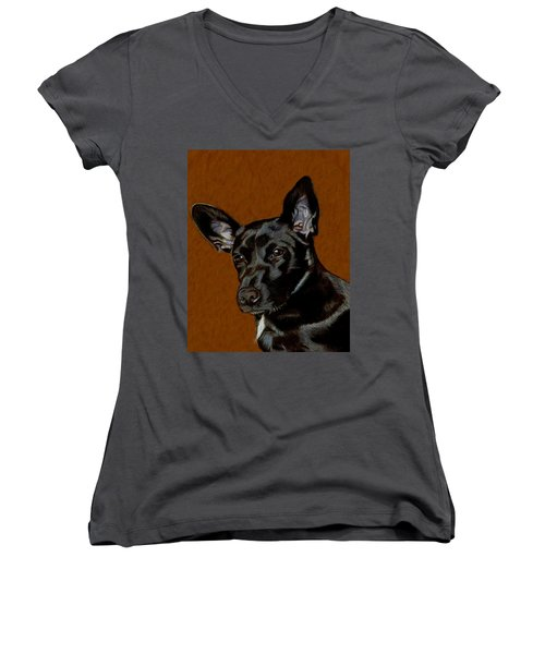 I Hear Ya - Dog Painting Women's V-Neck T-Shirt (Junior Cut) by Patricia Barmatz