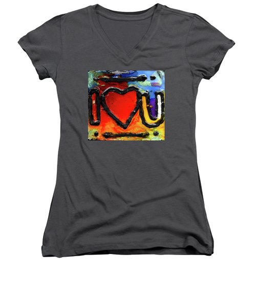 Women's V-Neck T-Shirt (Junior Cut) featuring the painting I Heart You by Genevieve Esson