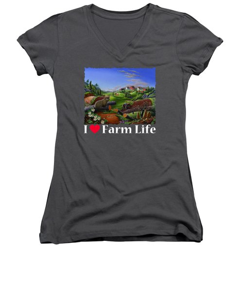 I Love Farm Life T Shirt - Spring Groundhog - Country Farm Landscape 2 Women's V-Neck T-Shirt (Junior Cut) by Walt Curlee