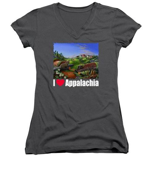 I Love Appalachia T Shirt - Spring Groundhog - Country Farm Landscape Women's V-Neck T-Shirt (Junior Cut) by Walt Curlee