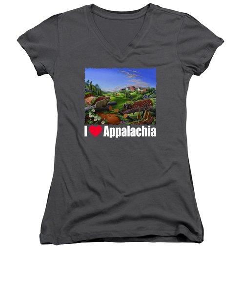 I Love Appalachia T Shirt - Spring Groundhog - Country Farm Landscape Women's V-Neck T-Shirt