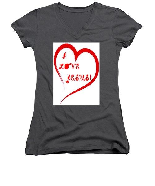 I Love Jesus Women's V-Neck (Athletic Fit)