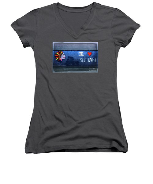 Women's V-Neck T-Shirt (Junior Cut) featuring the photograph I Love Squan  by Colleen Kammerer