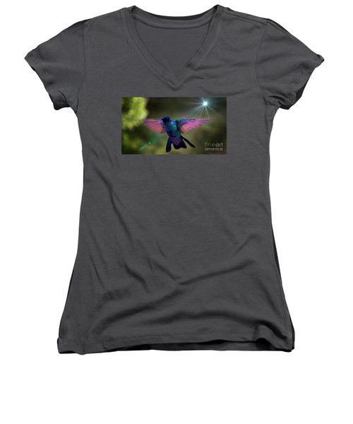 Women's V-Neck T-Shirt (Junior Cut) featuring the photograph I Love Tom Thumb by Al Bourassa