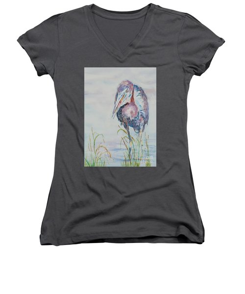 Women's V-Neck T-Shirt (Junior Cut) featuring the painting I See Lunch by Mary Haley-Rocks