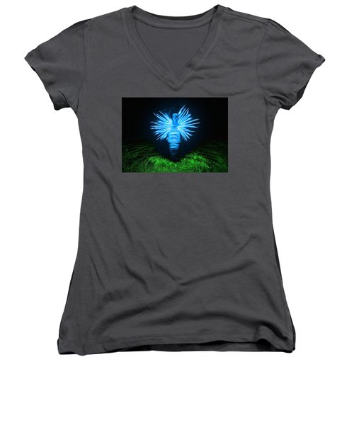 Women's V-Neck T-Shirt (Junior Cut) featuring the photograph I Sing The Body Electric by Mark Fuller