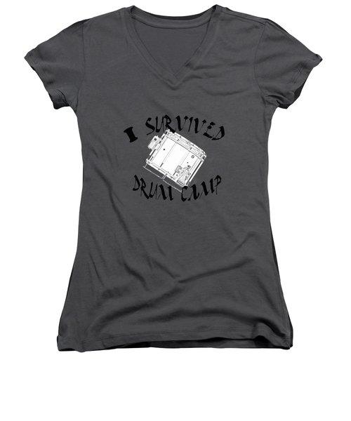 I Survived Drum Camp Women's V-Neck T-Shirt (Junior Cut) by M K  Miller