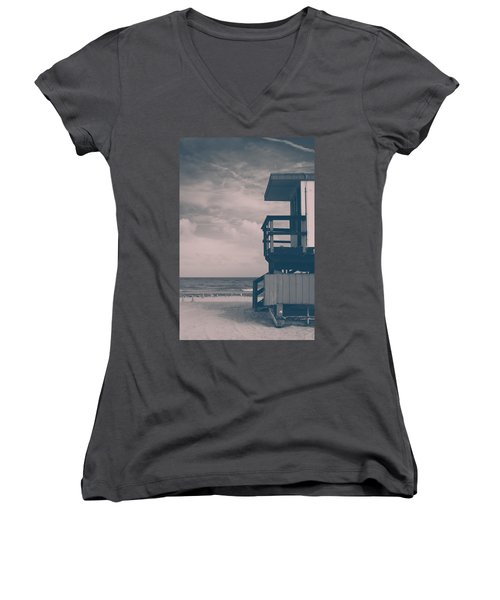 Women's V-Neck T-Shirt (Junior Cut) featuring the photograph I Was Checkin' On The Surfin' Scene by Yvette Van Teeffelen