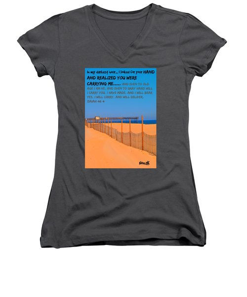 I Will Carry You Women's V-Neck (Athletic Fit)