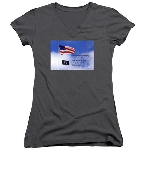 Women's V-Neck T-Shirt (Junior Cut) featuring the photograph I Will Not Forget You American Flag Pow Mia Flag Art by Reid Callaway