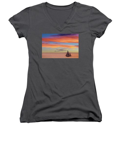 I Will Sail Away, And Take Your Heart With Me Women's V-Neck