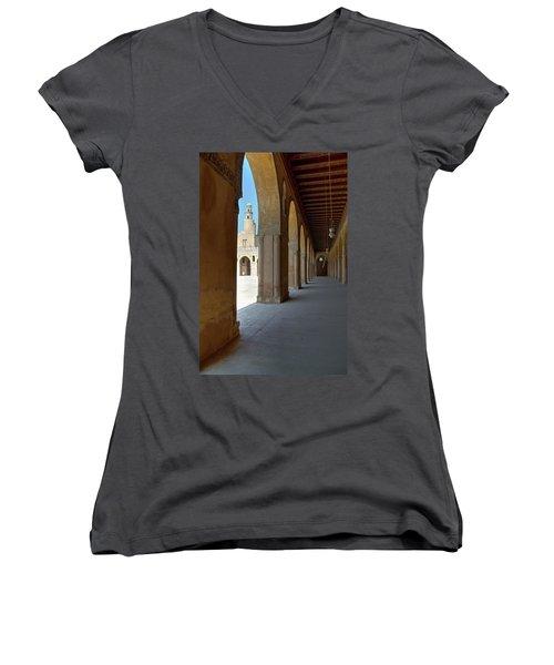 Ibn Tulun Great Mosque Women's V-Neck T-Shirt (Junior Cut) by Nigel Fletcher-Jones