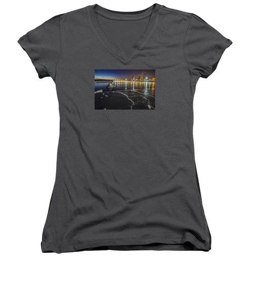 Ice And Chicago Skyline At Dawn  Women's V-Neck