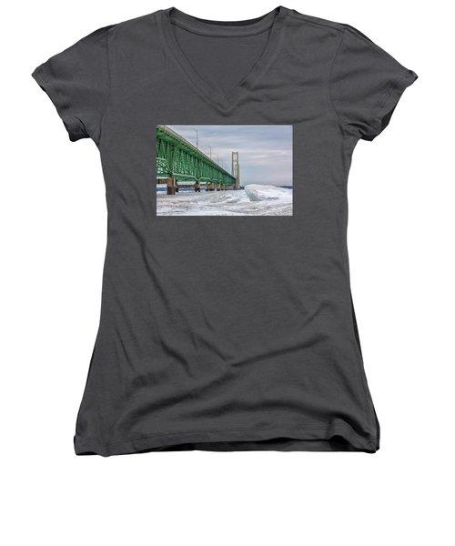 Women's V-Neck T-Shirt (Junior Cut) featuring the photograph Ice And Mackinac Bridge  by John McGraw