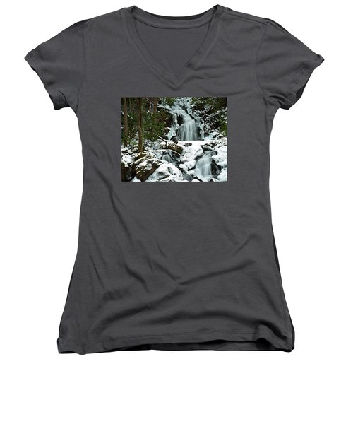 Ice And Snow, Mouse Creek Falls, Great Smoky Mountain National Park Women's V-Neck (Athletic Fit)