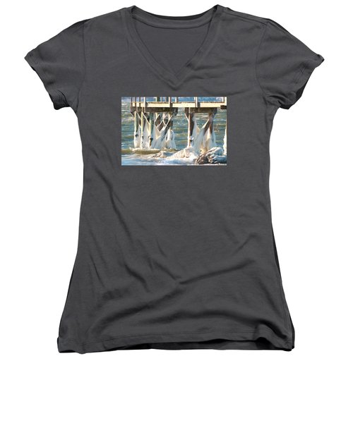 Ice Covered Pilings Women's V-Neck (Athletic Fit)