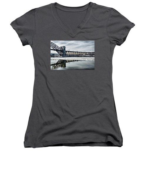 Ice Flows Under The Hellgate Women's V-Neck T-Shirt