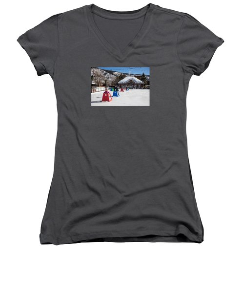 Ice Rink In Downtown Aspen Women's V-Neck T-Shirt (Junior Cut) by Carol M Highsmith