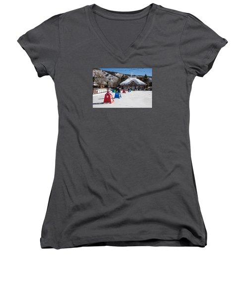 Ice Rink In Downtown Aspen Women's V-Neck T-Shirt