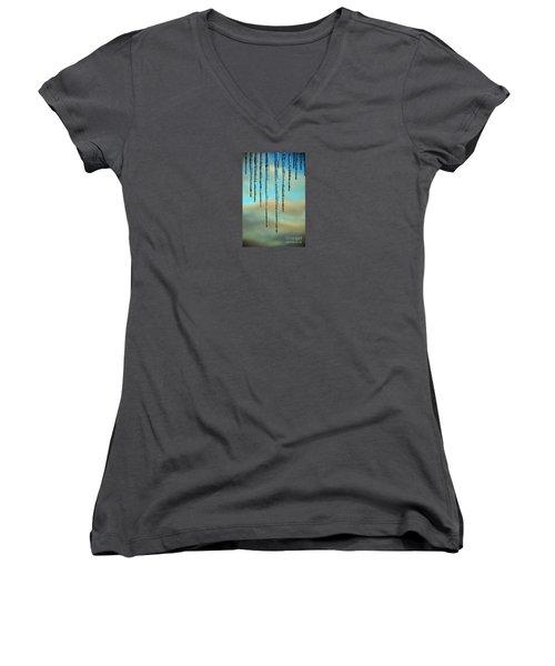 Women's V-Neck T-Shirt (Junior Cut) featuring the photograph Ice Sickles - Winter In Switzerland  by Susanne Van Hulst