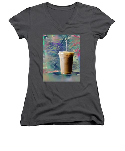 Iced Coffee 3 Women's V-Neck T-Shirt (Junior Cut)