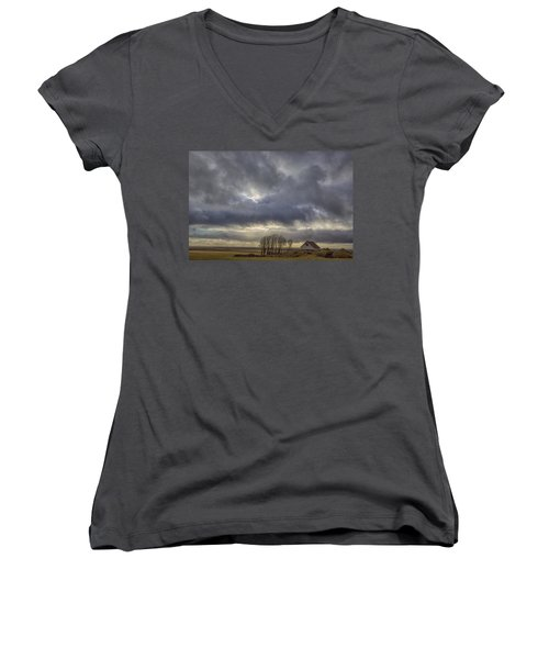 Women's V-Neck T-Shirt (Junior Cut) featuring the tapestry - textile Iceland Buildings by Kathy Adams Clark