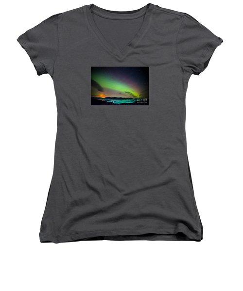 Icelandic Lights  Women's V-Neck T-Shirt (Junior Cut) by Mariusz Czajkowski
