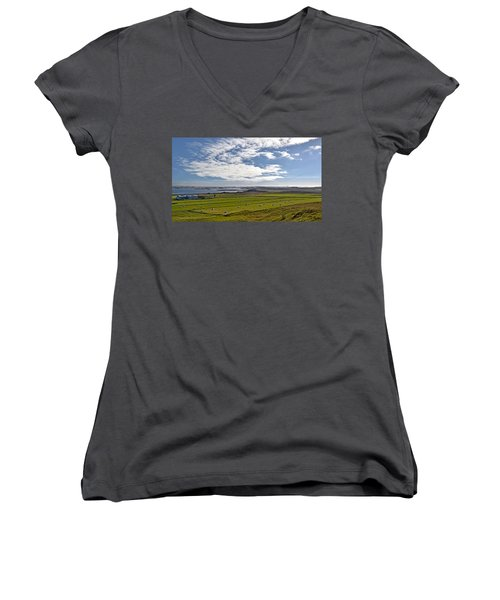 Women's V-Neck T-Shirt (Junior Cut) featuring the photograph Icelandic Panorama by Joe Bonita