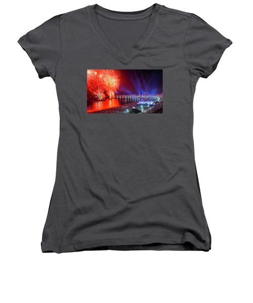Iconic And Breath-taking Fireworks Display On Copacabana Beach,  Women's V-Neck