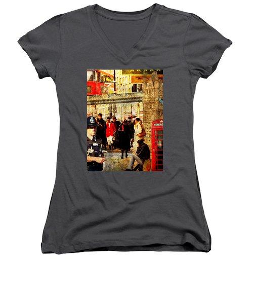 Iconic London Women's V-Neck T-Shirt (Junior Cut) by Judi Saunders