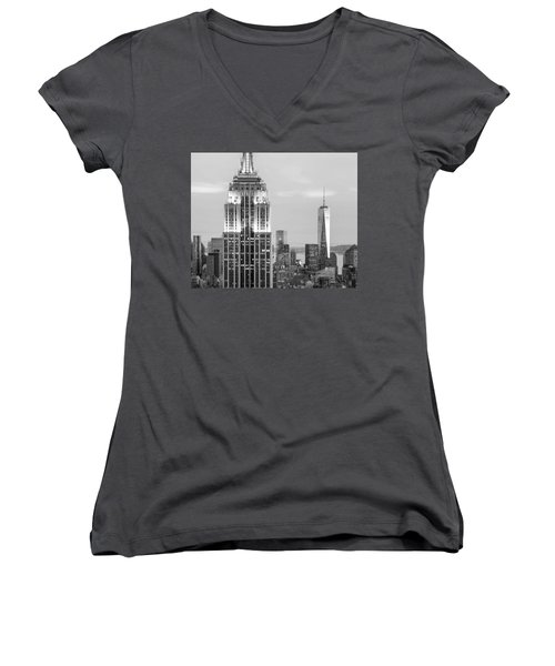 Iconic Skyscrapers Women's V-Neck T-Shirt (Junior Cut) by Az Jackson