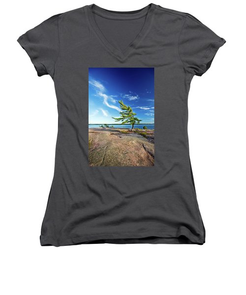 Iconic Windswept Pine Women's V-Neck (Athletic Fit)