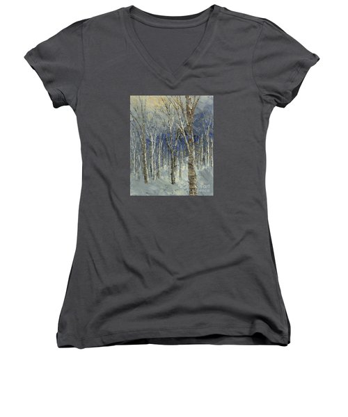 Women's V-Neck T-Shirt (Junior Cut) featuring the painting Icy Bells by Tatiana Iliina