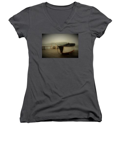 Icy Strait Point Boat Women's V-Neck (Athletic Fit)