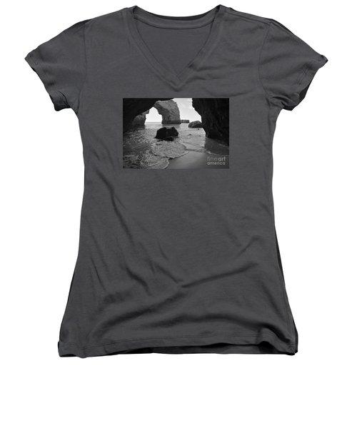 Idyllic Cave In Monochrome Women's V-Neck T-Shirt (Junior Cut) by Angelo DeVal