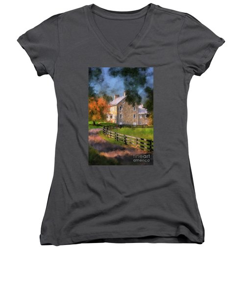 Women's V-Neck T-Shirt featuring the digital art If These Walls Could Talk  by Lois Bryan