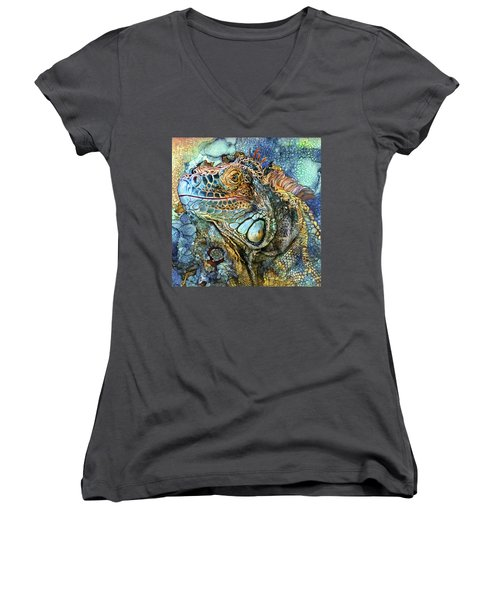 Women's V-Neck T-Shirt featuring the mixed media Iguana - Spirit Of Contentment by Carol Cavalaris