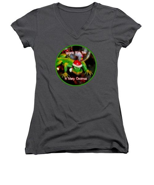 Iguana Wish You A Merry Christmas Women's V-Neck