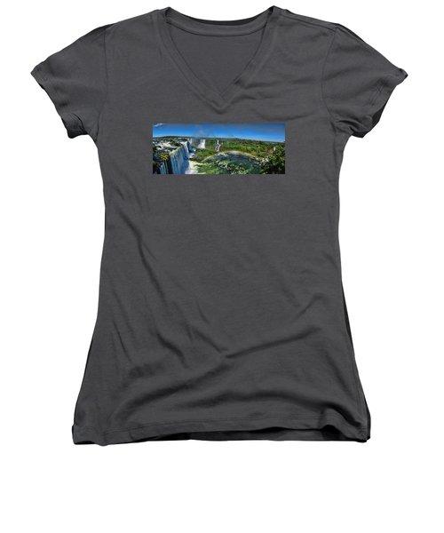 Iguazu Panorama Women's V-Neck T-Shirt (Junior Cut) by David Gleeson