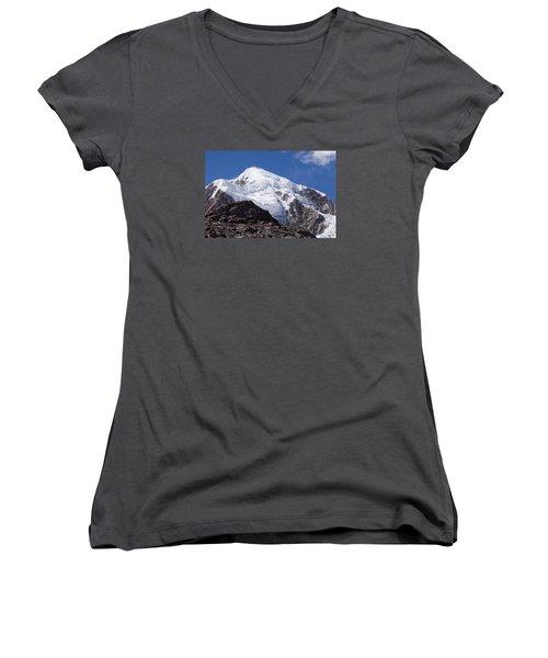 Illampu Mountain Women's V-Neck T-Shirt (Junior Cut) by Aivar Mikko