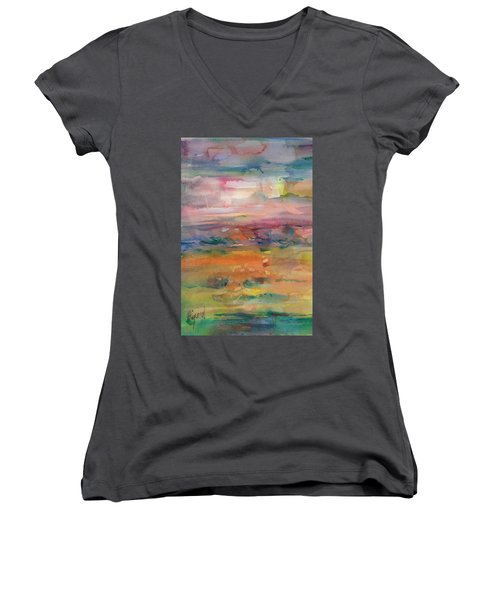 Women's V-Neck featuring the painting Illusional Landscape by Carolyn Utigard Thomas