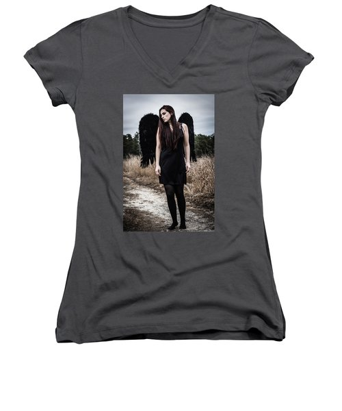 Women's V-Neck T-Shirt (Junior Cut) featuring the photograph I'm No Angel by Brian Hughes